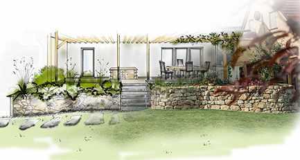 Mediterran-Garten-Gartenplanung-Sichtschutz-Natursteinmauer